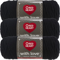 Red Heart With Love Yarn-Black, Multipack Of 3