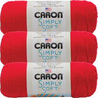 Caron Simply Soft Solids Yarn-Red, Multipack Of 3