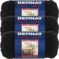 Bernat Super Value Solid Yarn-Black, Multipack Of 3