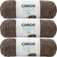 Caron Simply Soft Tweeds Yarn-Taupe, Multipack Of 3