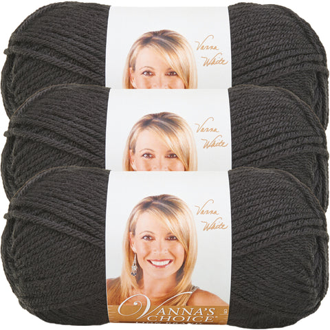 Lion Brand Vanna's Choice Yarn-Black, Multipack Of 3