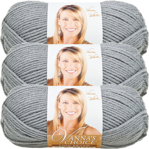Lion Brand Vanna's Choice Yarn-Silver Grey, Multipack Of 3