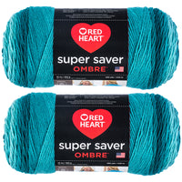Red Heart Super Saver Ombre Yarn Deep Teal Multipack Of 2