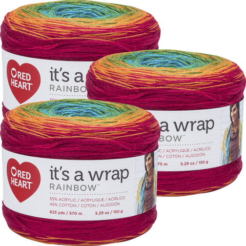 Red Heart It's A Wrap Rainbow Yarn Fiesta Multipack Of 3