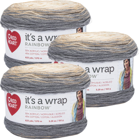Red Heart It's A Wrap Rainbow Yarn Foggy Multipack Of 3