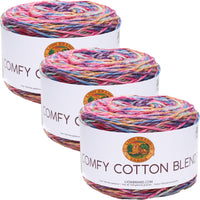 Lion Brand Comfy Cotton Blend Yarn Flower Garden Multipack Of 3