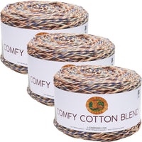 Lion Brand Comfy Cotton Blend Yarn Driftwood Multipack Of 3