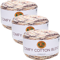 Lion Brand Comfy Cotton Blend Yarn Chai Latte Multipack Of 3