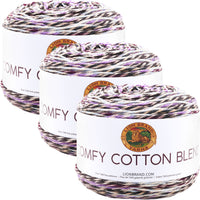 Lion Brand Comfy Cotton Blend Yarn Blueberry Muffin Multipack Of 3