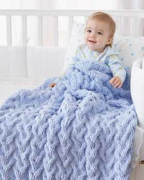 Bernat Baby Blanket Shadow Cable Baby Blanket