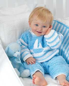 Bernat Baby Coordinates Sailor Suit To Crochet