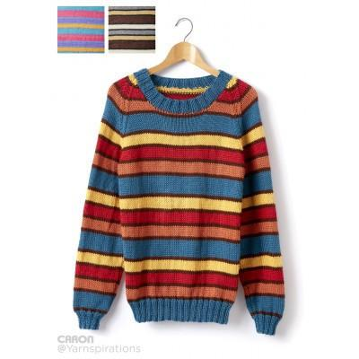 Caron Simply Soft Adult Crew Neck Striped Pullover