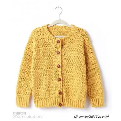 Caron Simply Soft Adult Crochet Crew Neck Cardigan