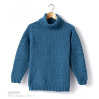 Caron Simply Soft Adult Crochet Turtleneck Pullover