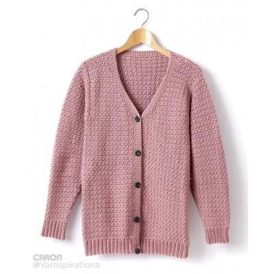 Caron Simply Soft Adult Crochet V Neck Cardigan
