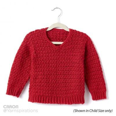 Caron Simply Soft Adult Crochet V Neck Pullover