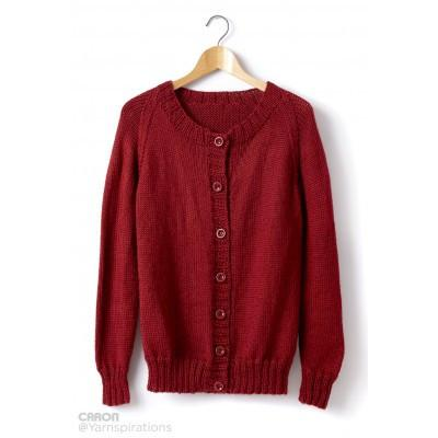 Caron Simply Soft Adult Knit Crew Neck Cardigan