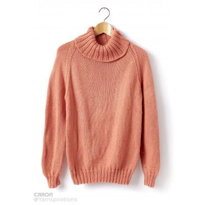 Caron Simply Soft Adult Knit Turtle Neck Pullover