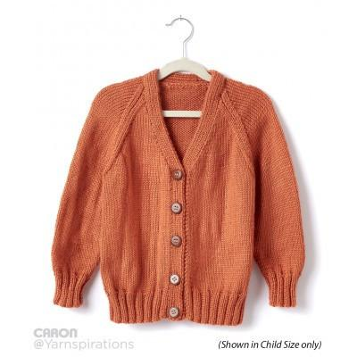 Caron Simply Soft Adult Knit V Neck Cardigan
