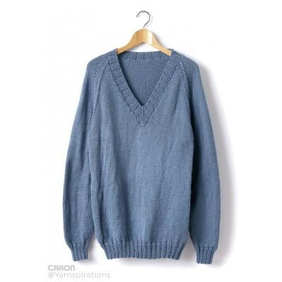 Caron Simply Soft Adult Knit V Neck Pullover