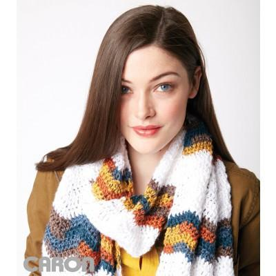 Caron Simply Soft Chevron Stripes Crochet Scarf