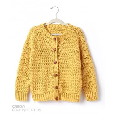 Caron Simply Soft Childs Crochet Crew Neck Cardigan
