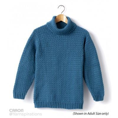 Caron Simply Soft Childs Crochet Turtle Neck Pullover