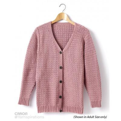 Caron Simply Soft Childs Crochet V Neck Cardigan