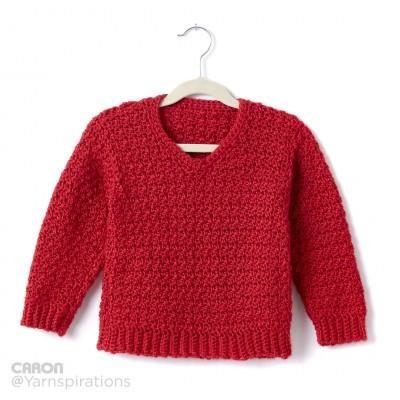 Caron Simply Soft Childs Crochet V Neck Pullover ...