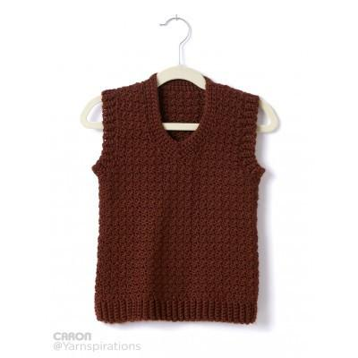 Caron Simply Soft Childs Crochet V Neck Vest