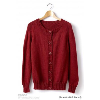 Caron Simply Soft Childs Knit Crew Neck Cardigan