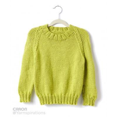 Caron Simply Soft Childs Knit Crew Neck Pullover