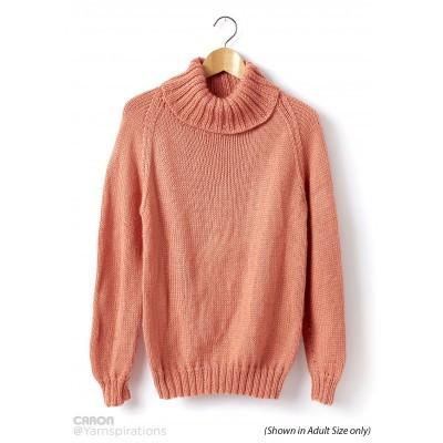 Caron Simply Soft Childs Knit Turtle Neck Pullover