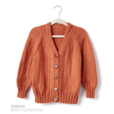 Caron Simply Soft Childs Knit V Neck Cardigan