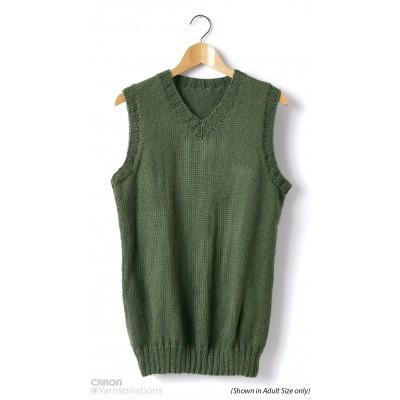 Caron Simply Soft Childs Knit V Neck Vest
