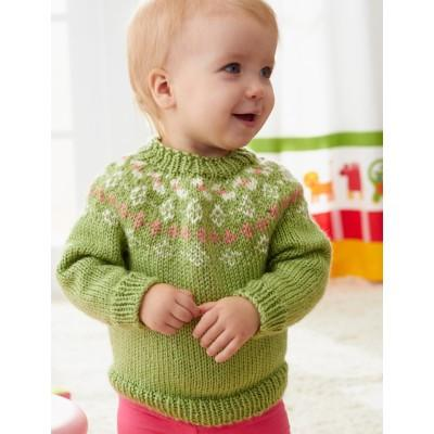 Caron Simply Soft Girls Garden Flowers Fair Isle Yoke Sweater