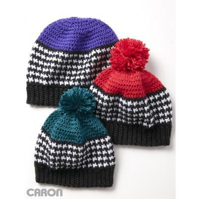 Caron Simply Soft Houndstooth Bright Hat