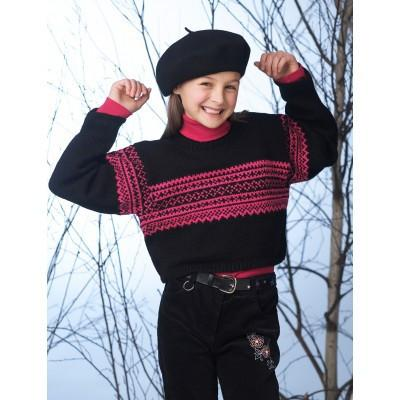 Patons Astra Cropped Sweater with Norwegian Pattern