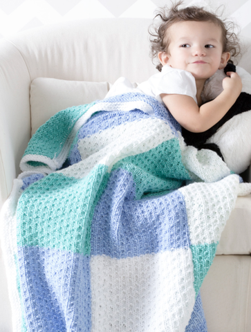 Color Block Baby Blanket Free Knitting Pattern