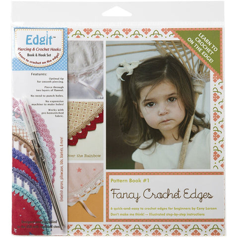 Edgit Piercing Crochet Hook & Book Set Fancy Crochet Edges