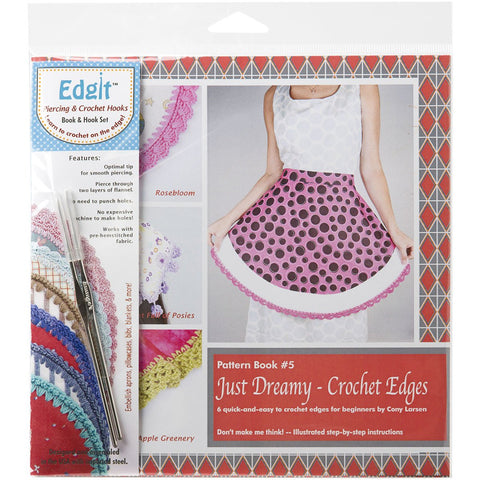 Edgit Piercing Crochet Hook & Book Set Just Dreamy Crochet Edges