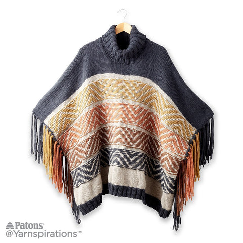 Reverse Fair Isle Knit Poncho Free Knitting Pattern