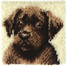 Wonderart Latch Hook Kit Chocolate Dog 12inx12in