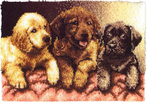 Wonderart Latch Hook Kit Lab Puppies 24inx34in