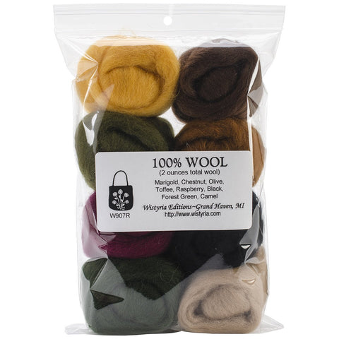 100% Wool Roving 12in Falling Leaves