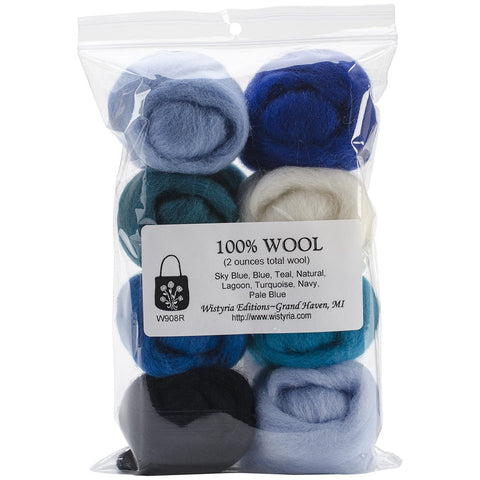 100% Wool Roving 12in The Sea