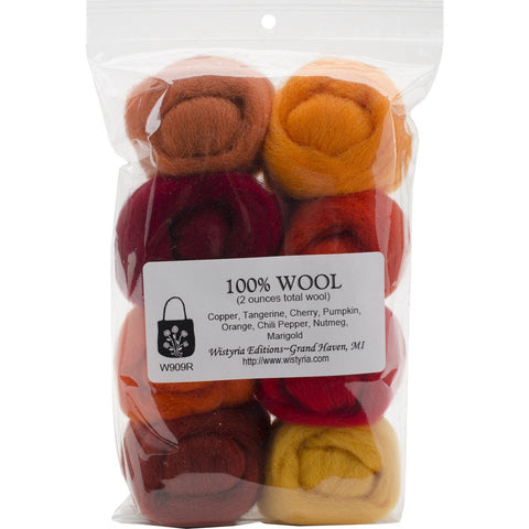 Wool Roving 12in .25oz Fire 8/Pkg