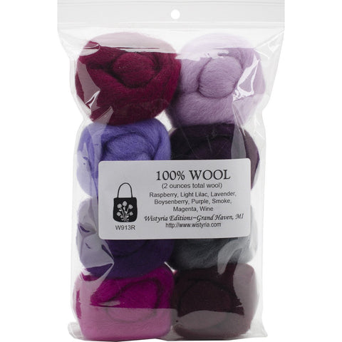 Wool Roving 12in .25oz Lilacs 8/Pkg