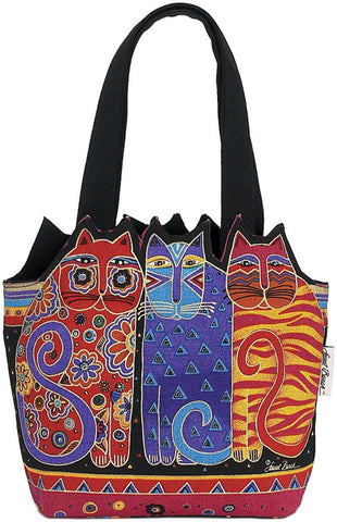 Medium Tote Zipper Top Tres Gatos Red, Orange, Blue