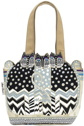 Medium Tote Zipper Top Tres Gatos Black, White, Gray